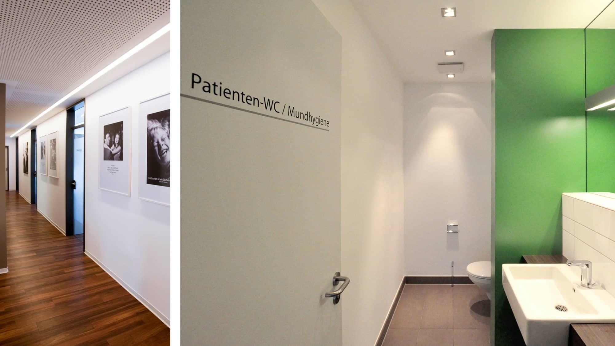 Praxisrundgang Zahnarztpraxis Dr. Gottwald in Koblenz - Flur zu den Behandlungsräumen und Patienten-WC, Mundhygiene