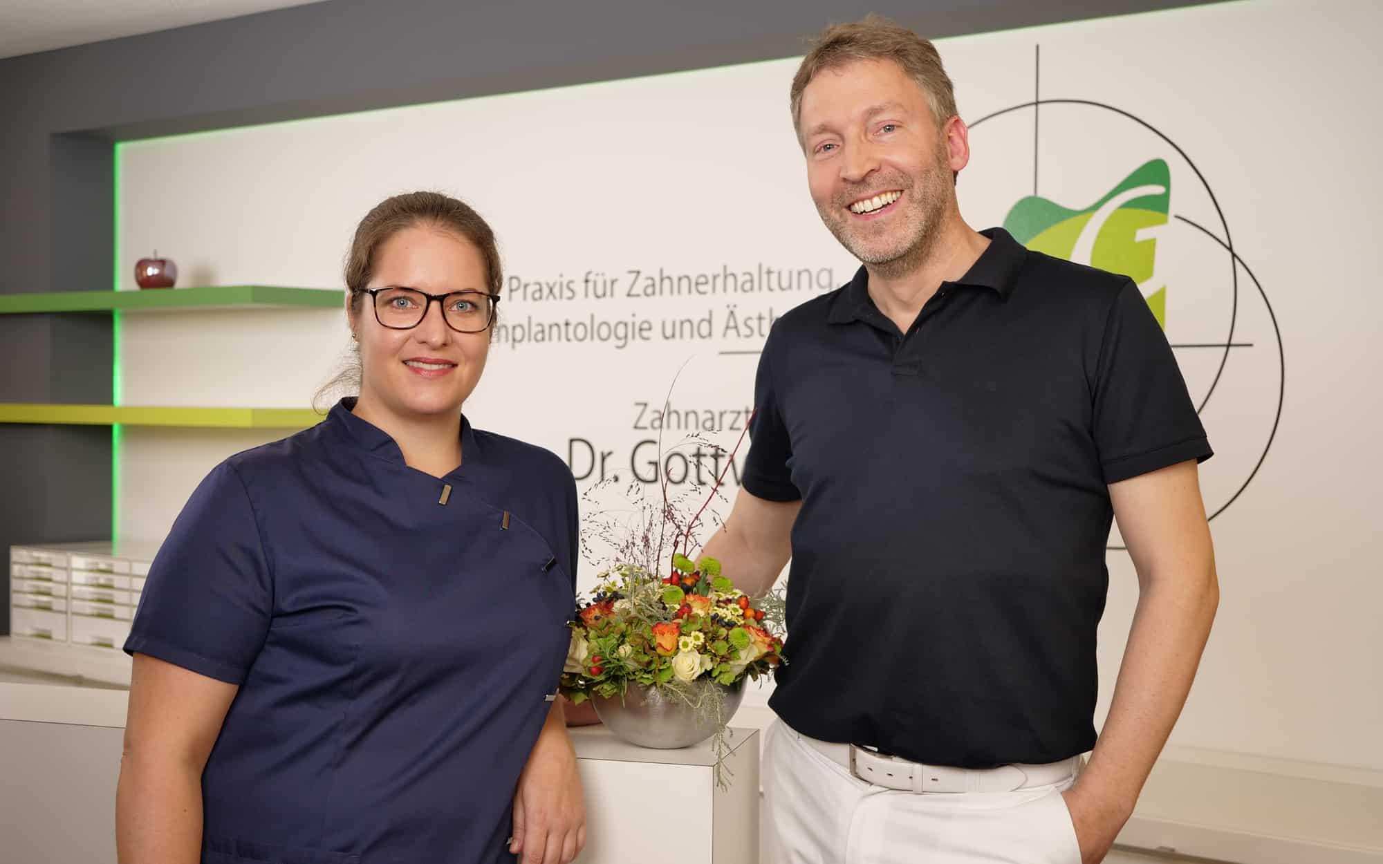 Katrin Scherer und Dr. Wolfgang Gottwald, Ärzteteam in der Zahnarztpraxis Dr. Wolfgang Gottwald in Koblenz am Hauptbahnhof